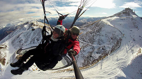 Winter Tandem Paragliding Flight