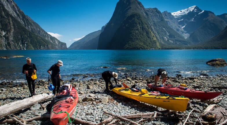 Kayaking on Milford Sound departing Te Anau